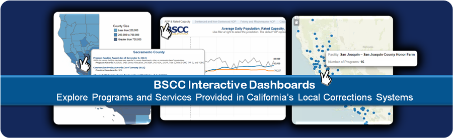 BSCC data dashboards graphic showing samples of Programs and services Provided in California's Local Corrections Systems